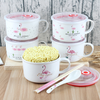 Popular Ceramic Noodle Bowl Food Container Salad Fruit Large Capacity Rice Bowls With Lid Flamingo Pattern Dinnerware Bowl