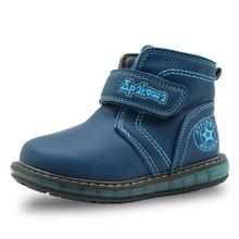 Apakowa Garçons Hiver Neige Bottes 2016 NOUVELLES Chaussures de Sport pour Enfants Bottines Enfant Enfants Bottes En Cuir Taille 21-26