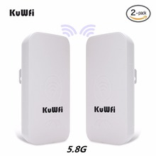 KuWFi 300Mbps 2PCS 1-3KM Outdoor CPE Router 5G Wireless Access Point Router Wifi Bridge Wi-fi Extender CPE Router With 24V POE
