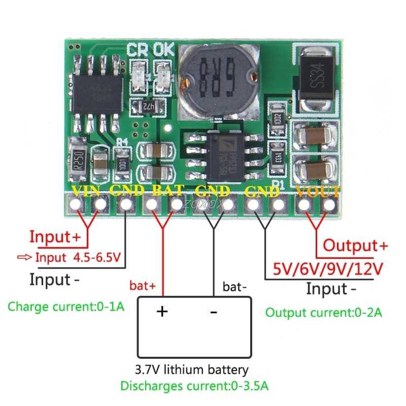 Литий-ионный аккумулятор Lipo модуль зарядного устройства аккумулятора Boost повышающий 5/9/12 V DC-DC конвертер Z10