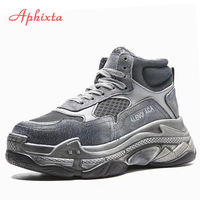 Aphixta W Platform Shoes Woman Ankle Boots Cow Suede Equestrian Winter Thick Sole Lace up Women Shoes Waterproof Old Sneaker