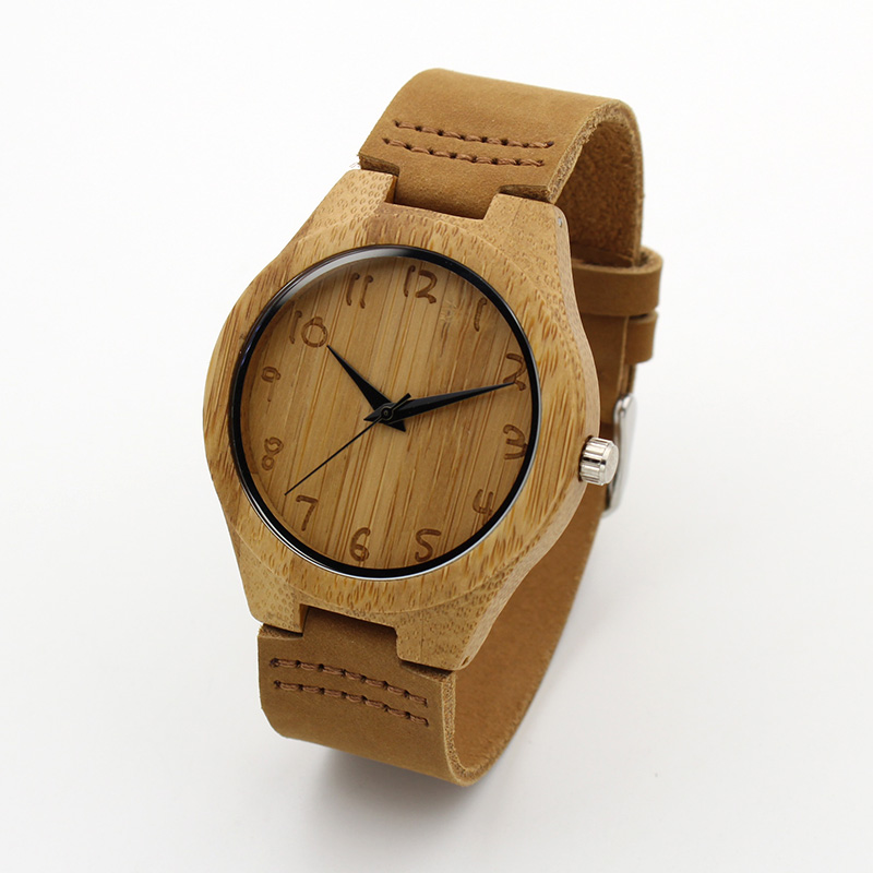 Luxury Fashion Japan Quartz Men Wood Watch Arabic Big Number Vintage Genuine Leather Band Bamboo Wooden Wristwatches Antibrittle skone wooden watch women men vintage leather quartz wood dress watch clock top luxury brand genuine leather strap wristwatches