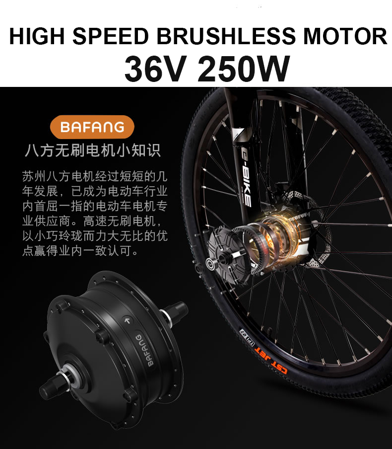 Cycling 26x17 Inch Electric Mountain Bike Oil Hydraulic Disc Brake Lockable Shock Front Fork Bafang Front Drive Motor Smart Sensor Ebike Cheap Sales Bicycle