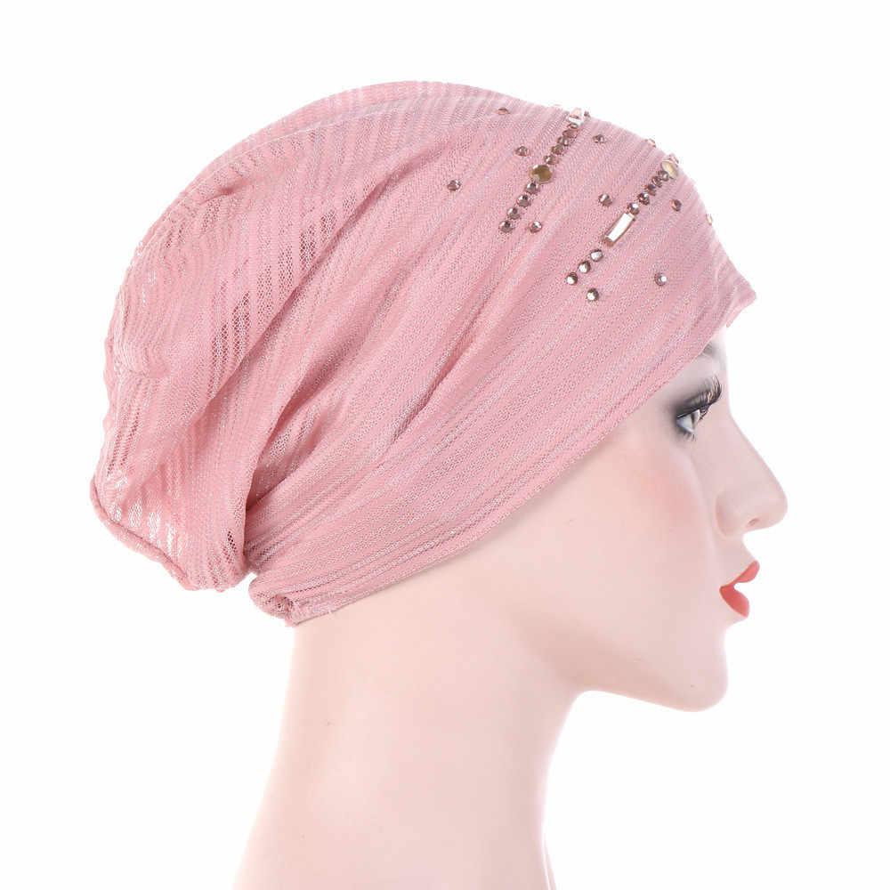 Элегантный летний женский мусульманский эластичный тюрбан шапка головной платок обёрточная бумага хиджиб шапка для женщин подшарф z0416