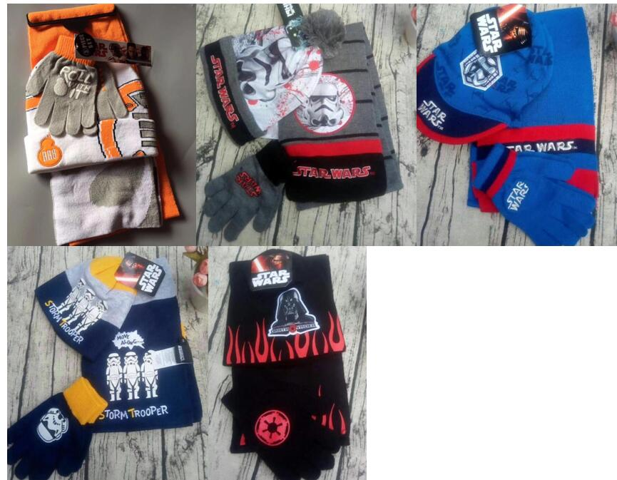 1set Cartoon Star Wars  Knit Beanie Hat Children Christmas Winter Knitted Scarf Gloves Hat Set Party Kids Gifts 2-8Y