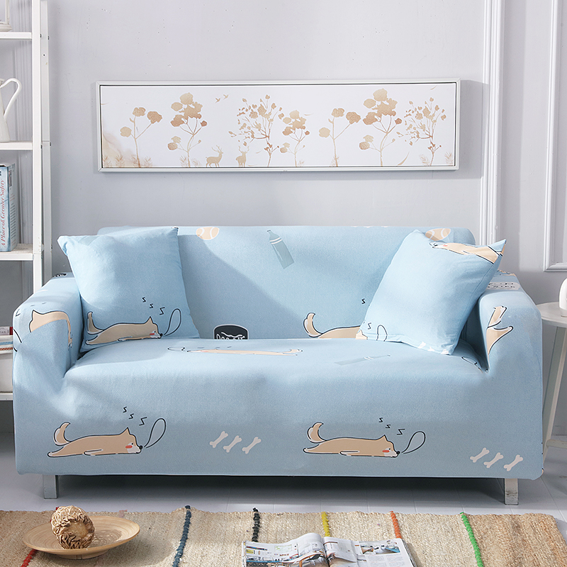 Cartoon Dogs Printed Sofa Slipcovers Light Blue Elastic Couch/Corner Sofa Slipcover Section Sofa Cover Loveseat Couch Sofa Cover