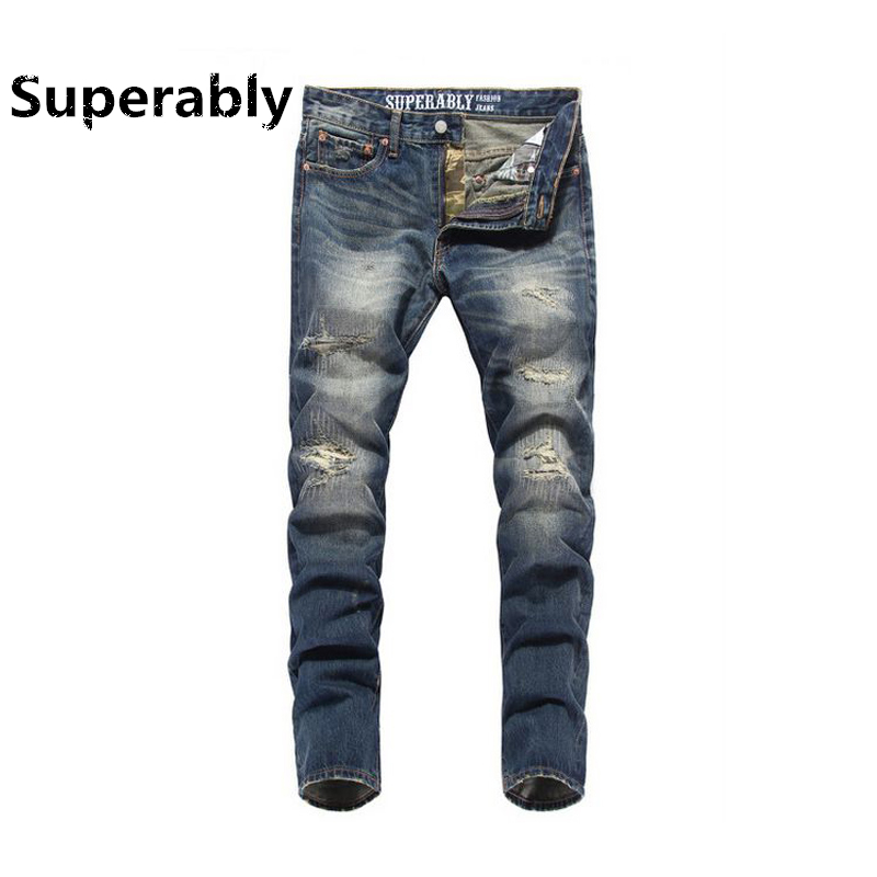 2017 Classic Hole Jeans Men Slim Fit Denim Jeans Ripped Pants Superably Brand Jeans Skull Plus Size Mens Jeans With Logo U320 2017 slim fit jeans men new famous brand superably jeans ripped denim trousers high quality mens jeans with logo ue237