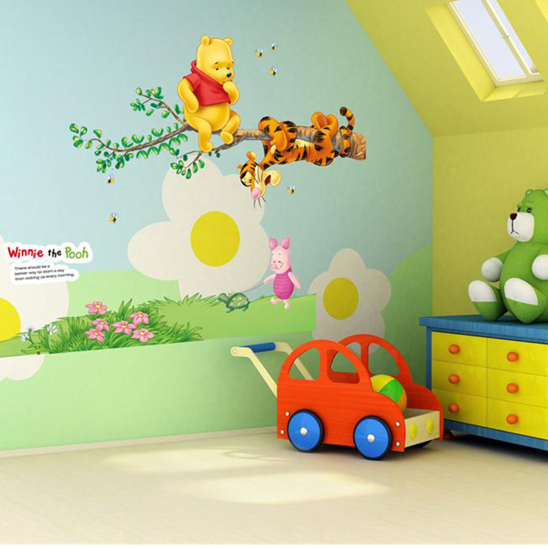 Cartoon Animals Winnie Pooh Wall Stickers For Kids Children Room Decaor Window Bear Tiger Height