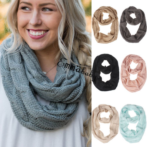 Fashion Women Winter Warm Ring   Scarves     Wraps   Infinity 2 Circle Cable Knitted Cowl Neck Long   Scarf   Shawl