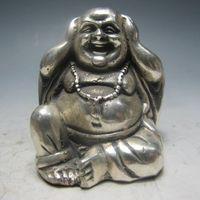 Chinese Silver Bronze Maitreya Buddha statue