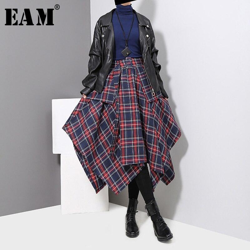 EAM 2018 New Autumn Winter High Waist Red Plaid Split Joitn Loose Big Hem Half