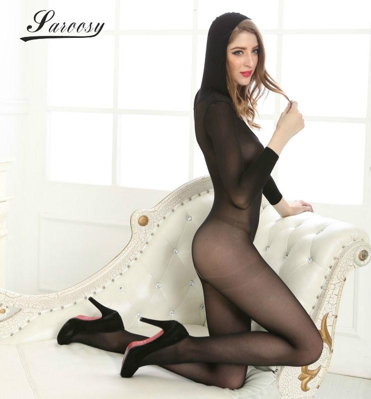 See Through Cheer Black Open entrepierna calcetines con capucha Body completo Body de cuerpo completo para mujer Lencería sexy elástica para mujer