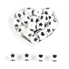 Joepada 50pcs Silicone Beads Letter 12mm Heart Star Chewing Alphabet Baby Teether For DIY Bracelet Necklace Pacifier Chain