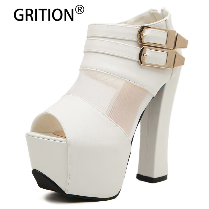 GRITION High Heels Women Sandals Gladiator Summer Shoes Women Casual Sandals Buckle Strap Open Toe Female Walking Fashion Shoes eiswelt 2017 fashion women gladiator sandals outdoor casual summer shoes ladies female open toe platform shoes woman sandals lq3