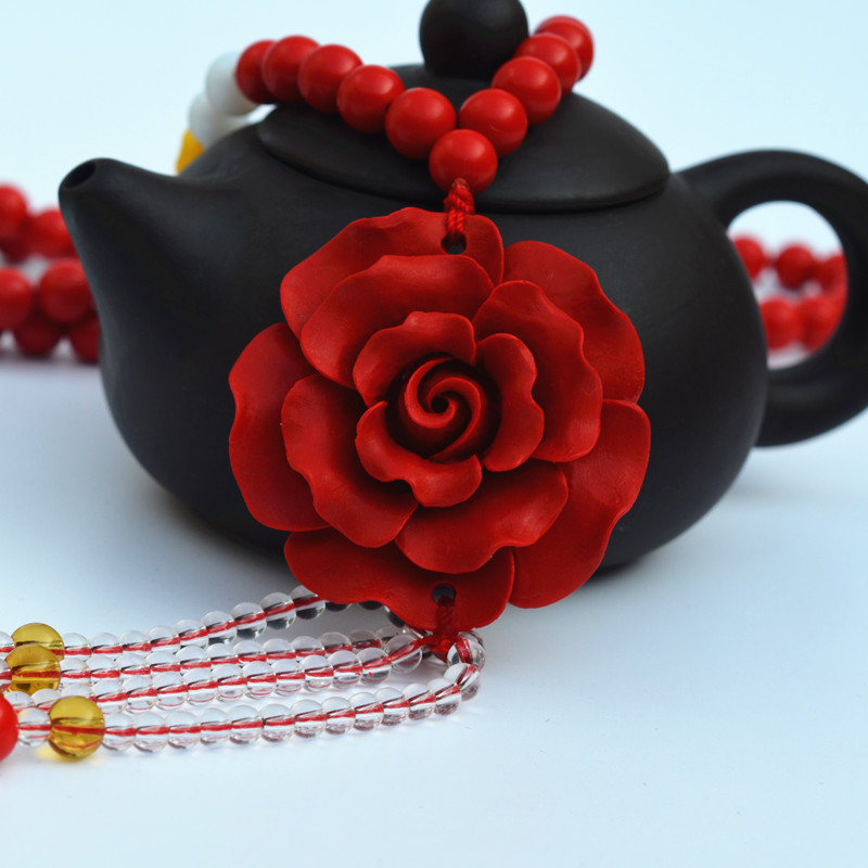High Quality Red Cinnabar Round Beads Sweater Chain Carved Rose Flower Pendant Necklace Gift for Women's Fashion Jewelry