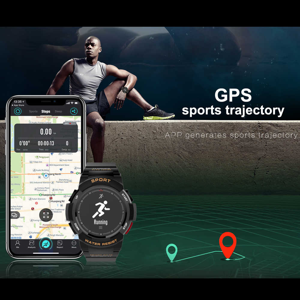 OGEDA 男性のスポーツファッション smart watch F6 Bluetooth 心拍数カロリー監視フィットネストラッカー IP68 防水 smart watch