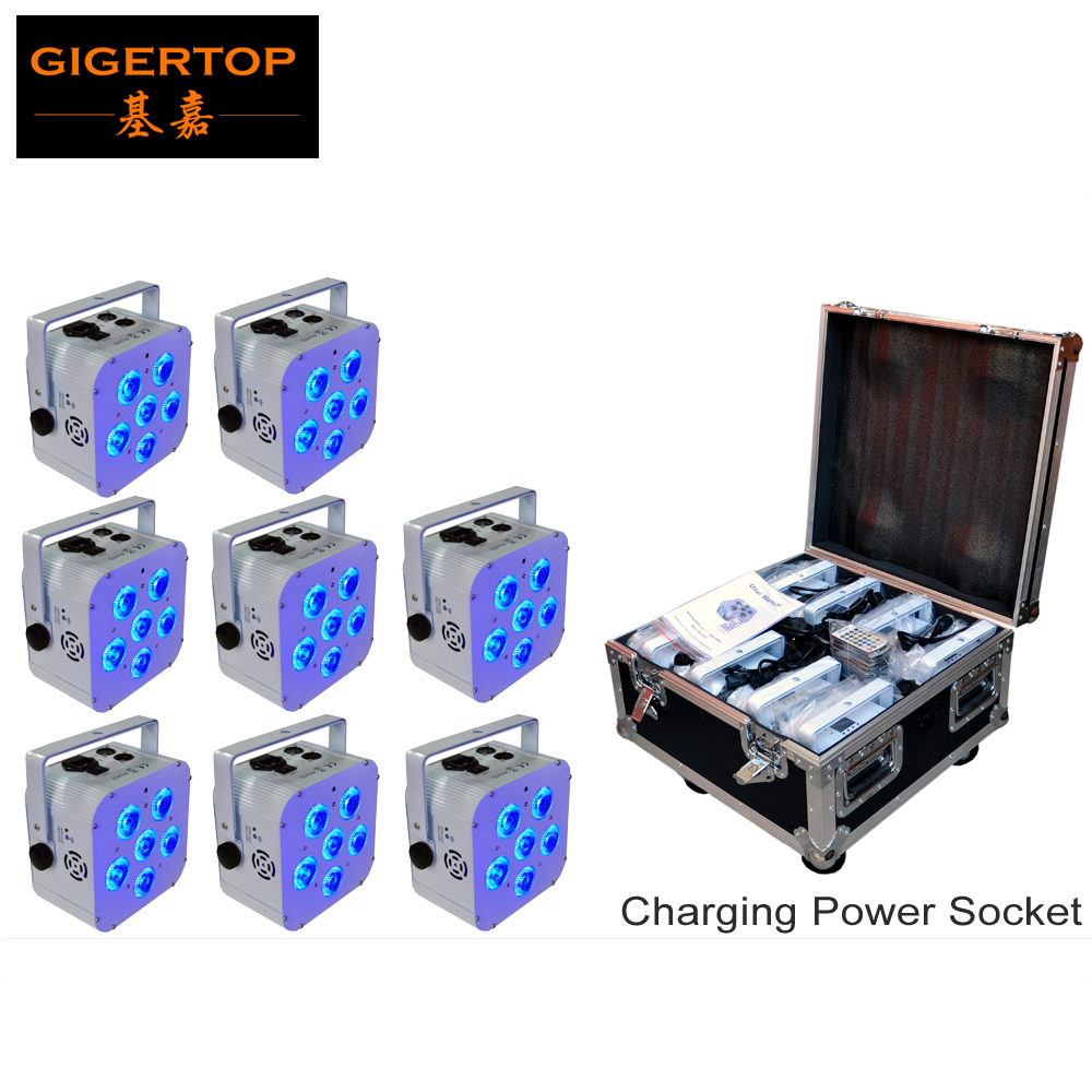 Rechargeable Road Case 8in1 Packing 8XLOT TIPTOP White Housing 6x18W 6IN1 Battery Wireless Led Par Cans Special Effect RGBWA UV