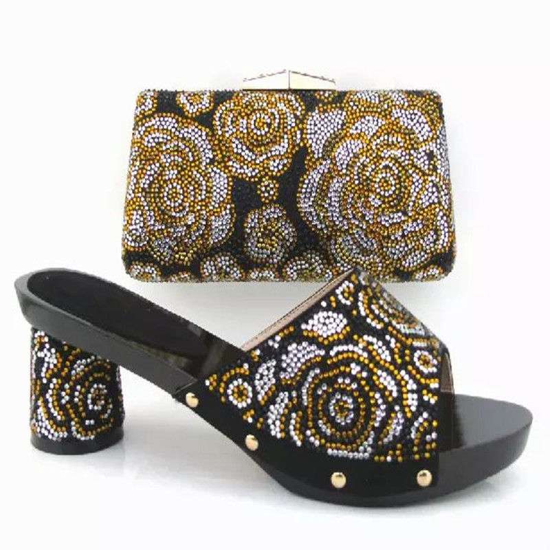 ФОТО 2016 Nice Looking Italy ladies Shoes And Bag Set HY3013 African High Quality Shoes And Matching Bags Stones For Party/Wedding