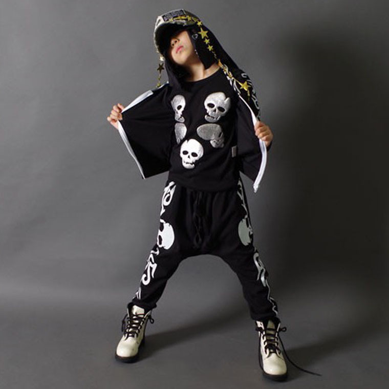 ФОТО Spring Autumn children's clothing set black skeleton Print Costumes kids sport suits patchwork Hip Hop dance pant & sweatshirt
