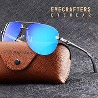 Mens Polarized Driver Mirror Sunglasses Brand Pilot Sunglasses Fashion Polaroid Lens Spring Hinge Metal Sunglasses 143 Blue