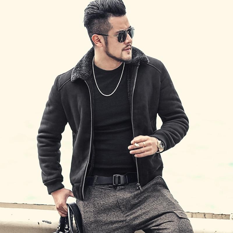 Hommes nouveaux hiver mince café chaud en fausse fourrure zipper manteau veste hommes de laine style Européen épais décontracté Marque conception veste f7153
