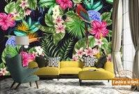 Custom tropical summer wallpaper mural tree forest leave color flowers bird sofa bedroom living room office restaurant bar cafe