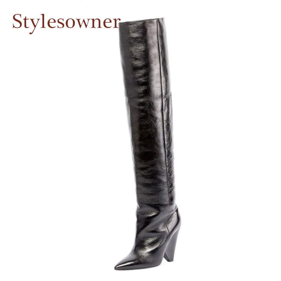 Stylesowner newest pointed toe genuine leather spike high heel knee high boots women slip on fashion pleated boots mujer zapatos