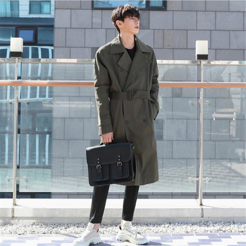 Sashes Long   Trench   Coat Men Double Breasted Thin Windbreaker Male Spring Autumn Loose Casual   Trench   Coat Homme A5587