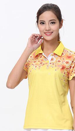 Футболка для настольного тенниса/бадминтона, футболка для бадминтона, ТЕННИСНАЯ СПОРТИВНАЯ ОДЕЖДА Джерси, быстросохнущие дышащие футболки для команды пинг-понга - Цвет: women yellow shirt