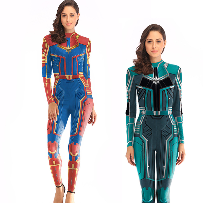 New Adult Women Superhero Captain Marvel Carol Danvers Cosplay Costume 3D Print Zentai Spandex Jumpsuits Bodysuits Suit New