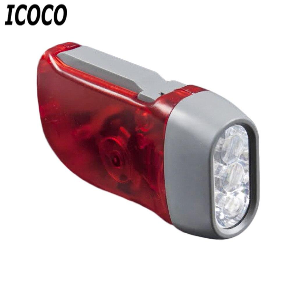 ICOCO 1pcs 3 LED Hand Pressing Dynamo Crank Power Wind Up Flashlight Torch Light Hand Press Crank Camping Lamp Light Hot Sale