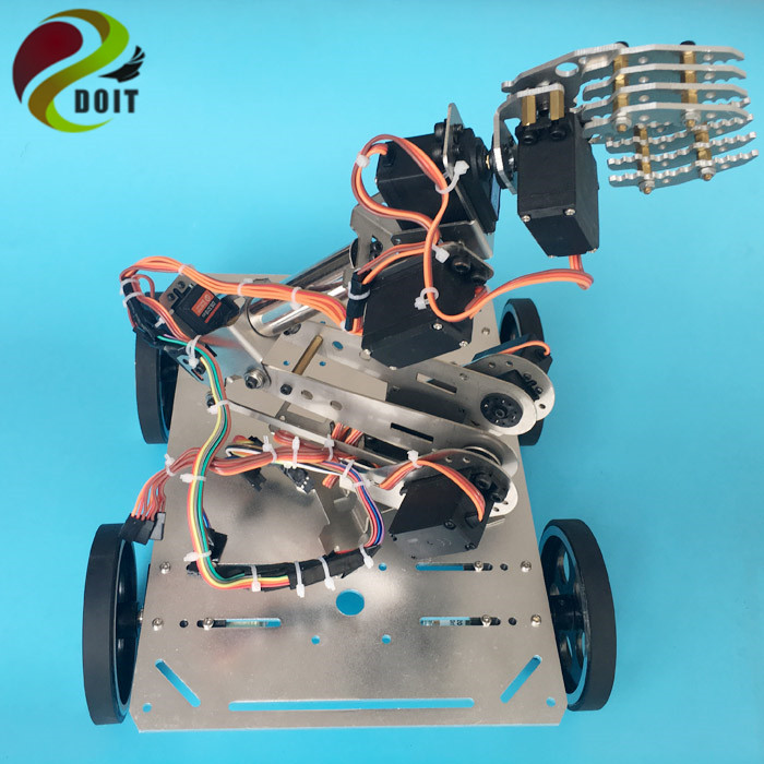 DOIT C600 Smart Car Chassis with Robotic Arm+Arduino Development Board+ Big Power Drive Board for DIY Robot Project цена