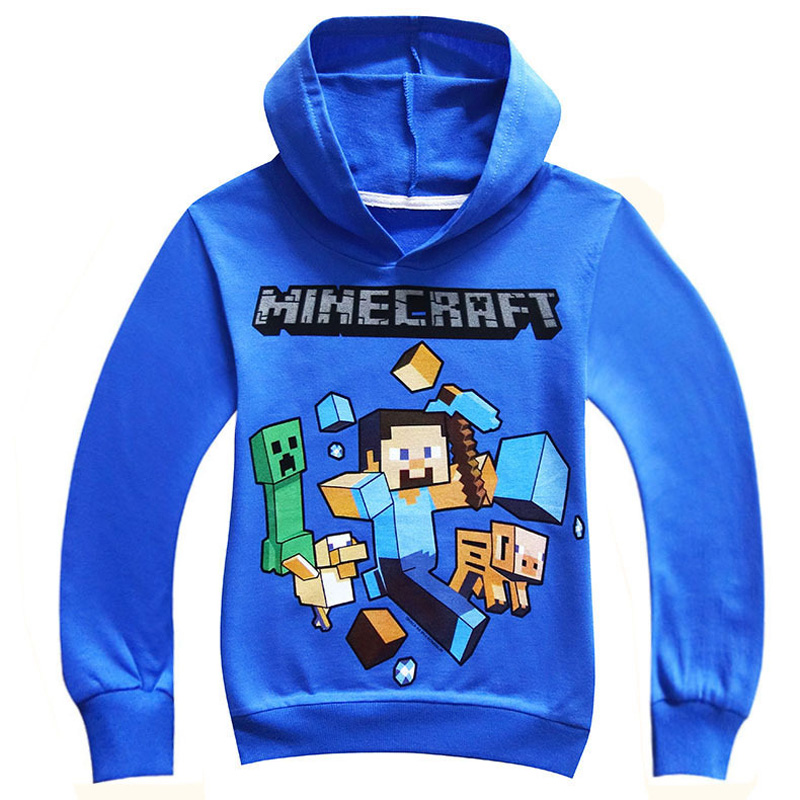 Children Blue/ Black Pattern Pullover Cotton Sweatshirt Creeper Minecraft Pattern Children Clothes Hoodie Gift For Kids