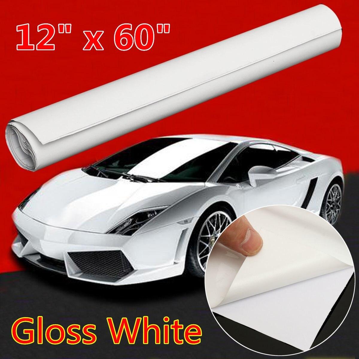 12 дюймов x 60 дюймов глянцевый Белый винил обернуть наклейка наклейка лист рулон Пузырчатой пленки