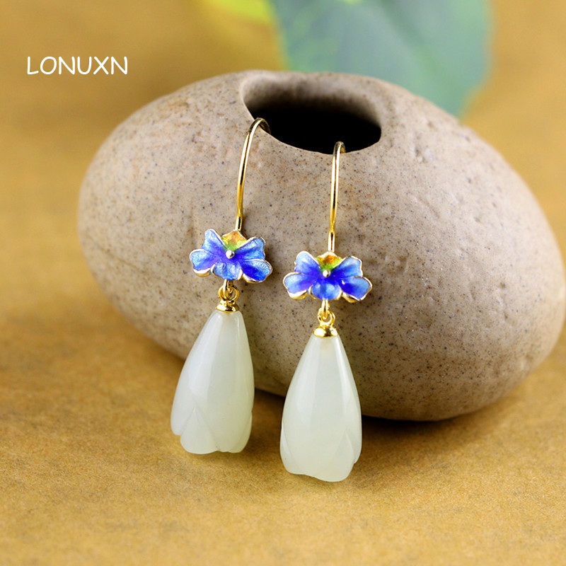 water drop shape girls Natural semi precious stones 925 silver lady folk style flowers High quality female jewelry Earrings