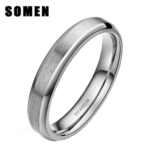 Somen Ring Women 4mm Titanium Rings Silver Brushed Wedding Band