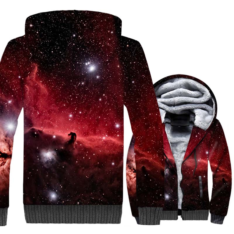 Starry Sky 3D Print Hoodie Men Dreamlike Hooded Sweatshirt Harajuku Coat 2018 Winter Thick Fleece Warm Jacket