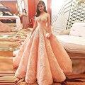 Nudez Rosa Prom Vestidos de noite Longos Vestidos de Noite Plus Size Vestidos De Festa Do Laço Apliques Árabe vestido de Baile Robe De sarau