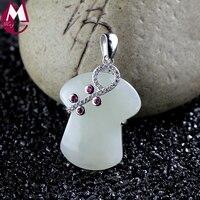 Оригинальный Дизайн мелкий белый нефрит кулон драгоценных камней цветок матери Подарки одежда ювелирные изделия 925 стерлингового серебра ...