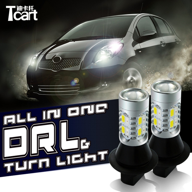 Tcart 2x car accessories daytime running lights with turn signal light DRL auto led bulbs T20 WY21W 7440 For Mitsubishi Pajero 4