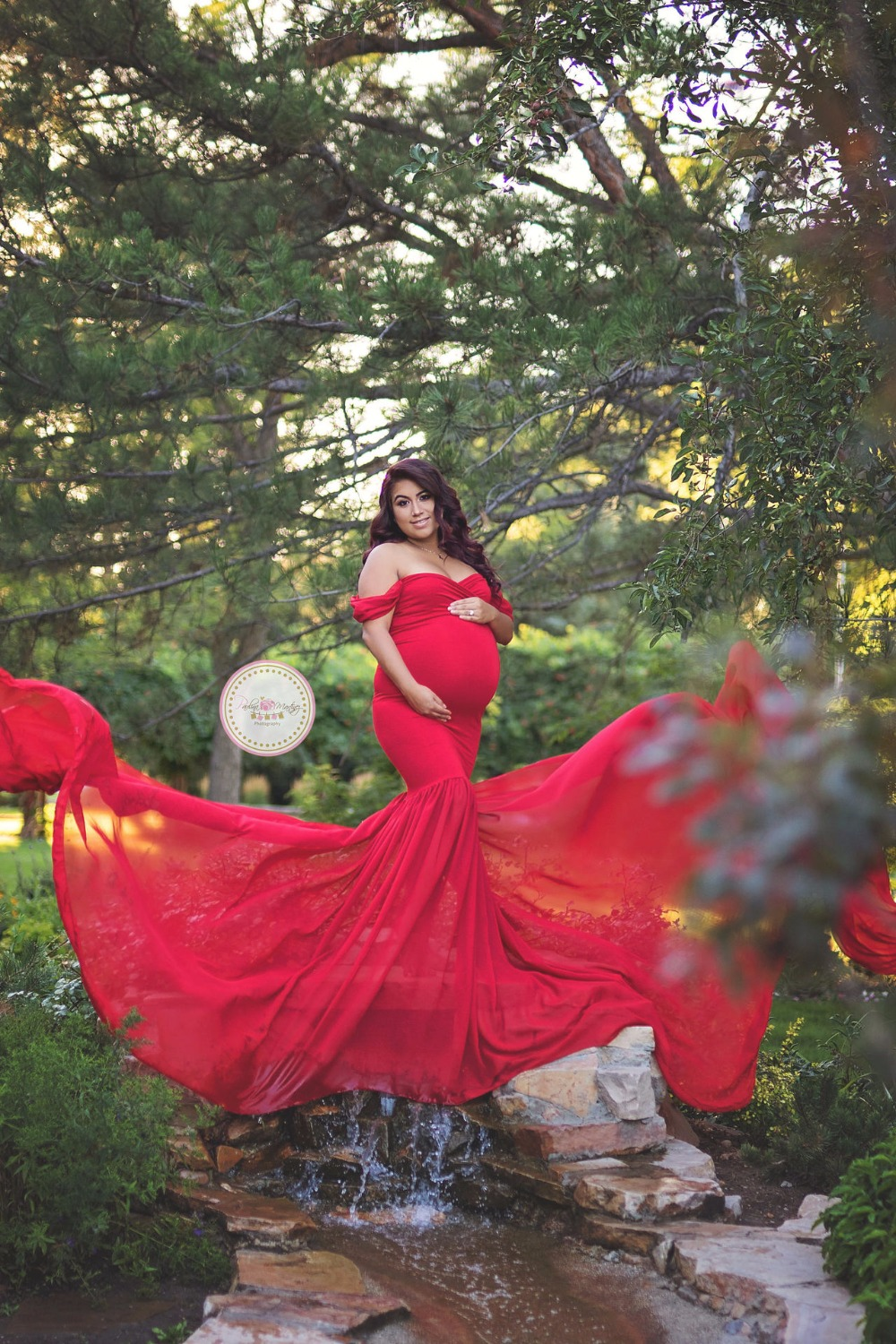 Maternity Photography Props Pregnancy Cotton Chiffon Maternity Off Shoulder Half Circle Gown Shooting Photo Pregnant Dress in Dresses from Mother Kids