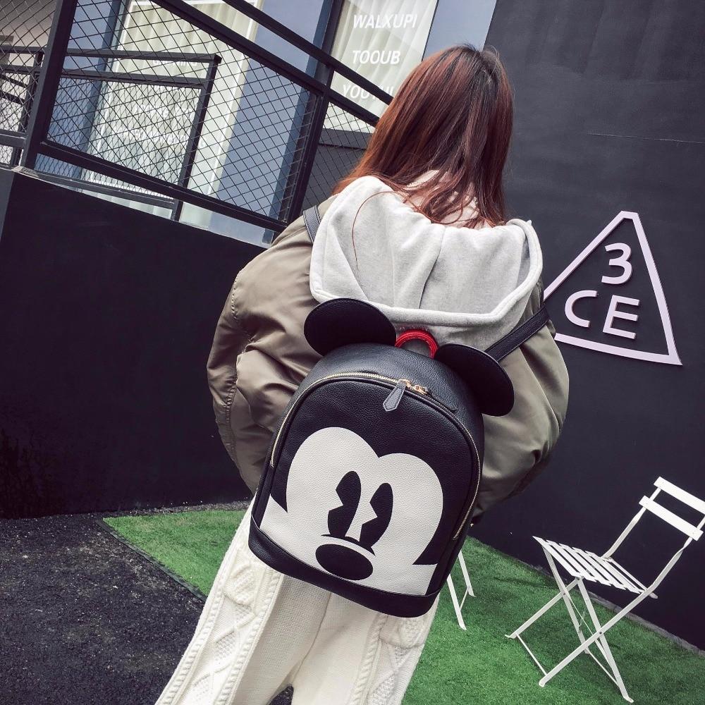 Fashion mickey woman backpack pu leather black backpack mini travel backpack animal printed rucksack mochilas feminina