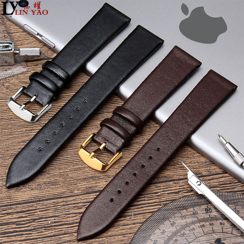 Real Leather Watch band  Smooth Womens Watch Band 12mm 20mm Mens Black Brown Genuine Leather Straps Belt Metal Pin Buckle.Real Leather Watch band  Smooth Womens Watch Band 12mm 20mm Mens Black Brown Genuine Leather Straps Belt Metal Pin Buckle.