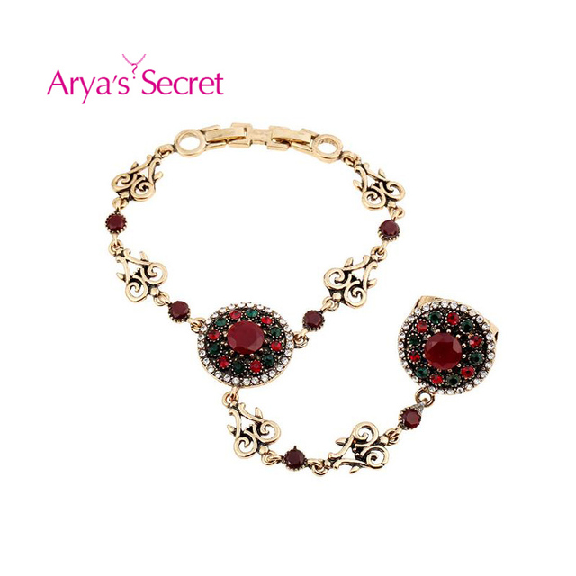Hand Chain Slave Bracelet Crystal Bridal Boho Turkish Bracelets Vintage Jewelry For Women Jewelry Wedding Gem Beads Gypsy Ethnic