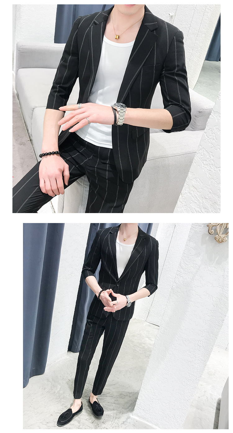 HTB11zboRpzqK1RjSZFvq6AB7VXai custom Small Size Men's Wear Summer 2019 New Men's Middle Sleeve Suit Stripe Two piece Fashion Japanese Slim Suit