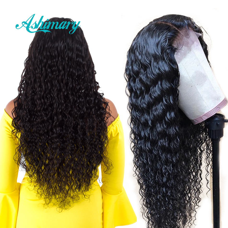 Ashimary Human-Hair-Wigs Lace-Front Deep-Wave Pre-Plucked Black-Women Brazilian