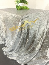 New Arrival 90x156inch Rectangle Silver Sequin Tablecloth for Wedding/Party/Events Tablecloths Decoration