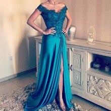 Turquoise Evening Dresses Long 2019 robe de soiree A line Formal Dress vestido longo de festa Long Prom Gowns Bateau Sleeveless