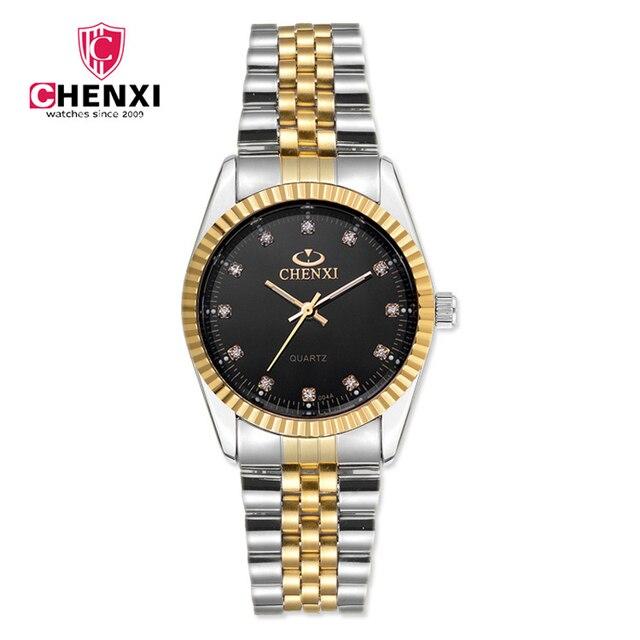 Waterproof Man Woman Gold Silver Casual Watch Luxury Brand CHENXI Full Steel Ban