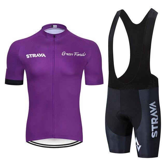 STRAVA Bisiklet Yarışı Takım Kısa Kollu Maillot ropa Ciclismo erkek Bisiklet Forması Kitleri Yaz nefes Bisiklet giyim setleri